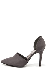 Megan 21 Grey D'Orsay Pointed Toe Pumps at Lulus.com!
