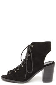 Tyler 11 Black Lace-Up Peep Toe Booties at Lulus.com!