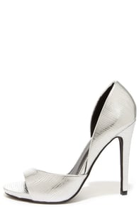 Anne Michelle Perton 85 Silver Lizard D'Orsay Heels at Lulus.com!