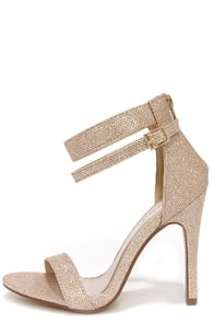 Lupid 2 Champagne Glitter Ankle Strap Heels at Lulus.com!