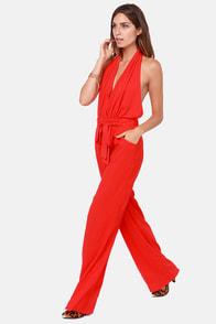 Red Halter Jumpsuit   Gommap Blog