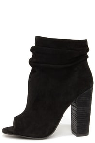 Chinese Laundry Laurel Black Kid Suede Peep Toe Booties at Lulus.com!