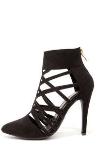 Paprika Creamy Black Pointed Toe Caged Booties at Lulus.com!