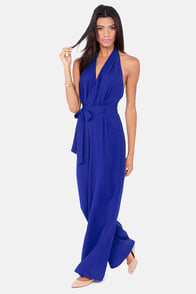Hop Skip and Jumpsuit Backless Blue Jumpsuit at Lulus.com!