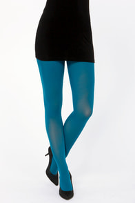 Tabbisocks Opaque a Wish Teal Blue Tights at Lulus.com!