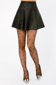 Tabbisocks Big Le-Bow-Ski Black Ribbon Print Tights at Lulus.com!