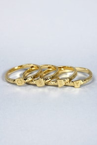 Obey Stack Rings Gold Ring Set at Lulus.com!