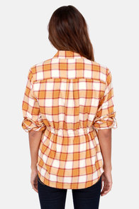 Obey Deja Vu Yellow Flannel Button-Up Top at Lulus.com!