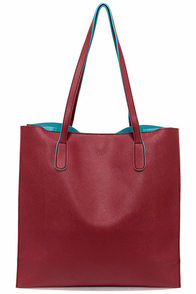 Game Changer Turquoise and Burgundy Tote at Lulus.com!