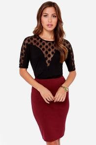 LULUS Exclusive Party In The Polka-nos Black Top at Lulus.com!