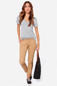 RVCA Sleeper Tan Skinny Pants at Lulus.com!