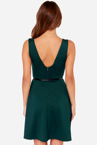 Black Swan Thread Belted Dark Teal Dress at Lulus.com!