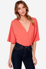 LULUS Exclusive Here For The Applause Coral Red Bodysuit at Lulus.com!