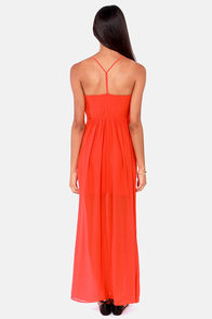 Pleats Don't Leave Coral Red Maxi Dress at Lulus.com!