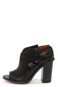 Sixtyseven Lillian 75345 Vachetta Black Peep Toe Ankle Booties at Lulus.com!