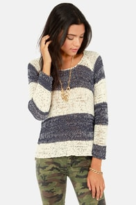 O'Neill Emmerson Navy Blue and Ivory Striped Sweater at Lulus.com!