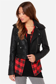 Obey Eddie Black Vegan Leather Moto Jacket at Lulus.com!