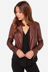 Black Swan Heart Burgundy Vegan Leather Moto Jacket at Lulus.com!