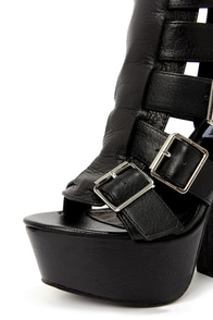 Steve Madden Egnite Black Leather Buckled Platform Ankle Boots at Lulus.com!