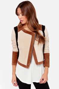 Chaser Collarless Suede Moto Jacket
