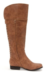 Not Rated Frontline Tan Studded Knee High Riding Boots at Lulus.com!