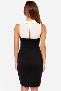 Black Swan Dahliah Ivory and Black Midi Dress at Lulus.com!