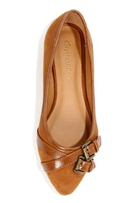 City Classified Maxim Light Hazel Suede Belted Pointed Flats at Lulus.com!