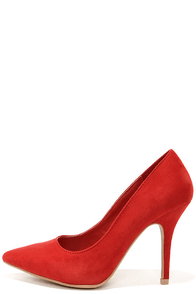 Wild Diva Lounge Lovisa 01 Red Suede Pointed Pumps at Lulus.com!