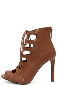 Rebeca 21 Tan Peep Toe Lace-Up Heels at Lulus.com!