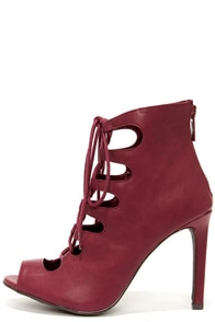 Rebeca 21 Wine Peep Toe Lace-Up Heels at Lulus.com!