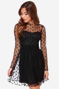 LULUS Exclusive Twirl Me About It Black Polka Dot Dress at Lulus.com!