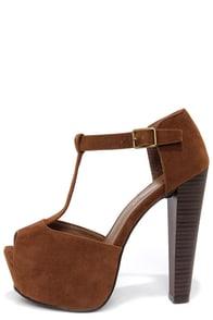 Brina 01W Tan T-Strap Peep Toe Platform Heels at Lulus.com!
