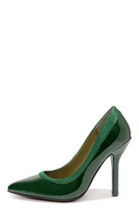 C Label Luxe 11 Green Patent Pointed Pumps at Lulus.com!