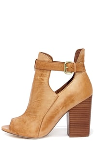 Chinese Laundry Bizarre Cognac Leather Cutout Peep Toe Booties at Lulus.com!