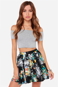 Gone with the Whimsical Black Floral Print Skirt at Lulus.com!