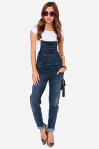 Dittos Melissa Dark Wash Overalls at Lulus.com!