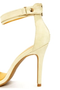 Shoe Republic LA Hidee Nude and Gold Ankle Strap Dress Sandals at Lulus.com!
