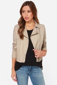 Make Your Mark Taupe Vegan Leather Moto Jacket at Lulus.com!