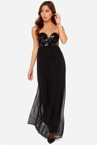 Reverse Va Va Black Sequin Maxi Dress at Lulus.com!