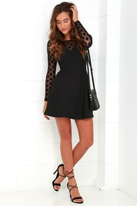 In Hot Dot-ter Long Sleeve Black Dress at Lulus.com!