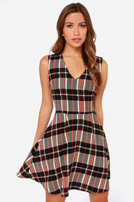 Chickity Checker Yo Self Black and Tan Skater Dress at Lulus.com!