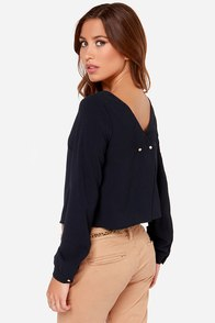 Bel Ami Navy Blue Long Sleeve Top at Lulus.com!