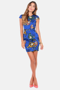 Darling Poppie Blue Floral Print Dress