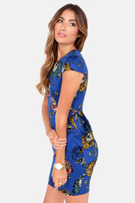 Darling Poppie Blue Floral Print Dress at Lulus.com!