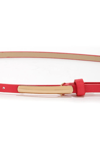 We Belt This City Coral Skinny Belt at Lulus.com!