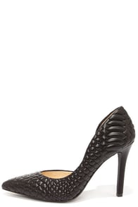 Jessica Simpson Caldas Black Leather Quilted D'Orsay Pumps at Lulus.com!