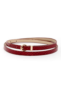 Snake Peek Red Snakeskin Skinny Belt at Lulus.com!