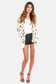 Mink Pink Zippora Cream Animal Print Wrap Sweater at Lulus.com!