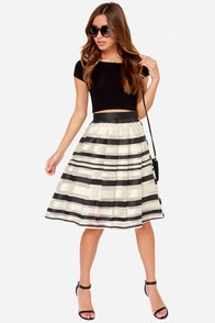 Grand Champion Cream Striped Midi Skirt at Lulus.com!