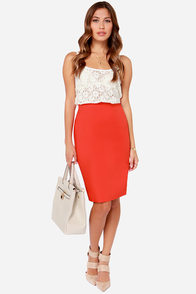Get the Memo Red Orange Pencil Skirt at Lulus.com!